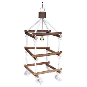Bird Hanging Wood Tower Toy Perch PLAYGROUND With Rope and Bell for Cage TRIXIE