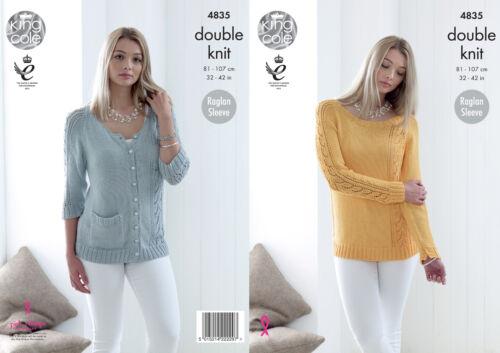 Double Knitting Pattern Womens Raglan Sleeve Cardigan Sweater King Cole DK 4835