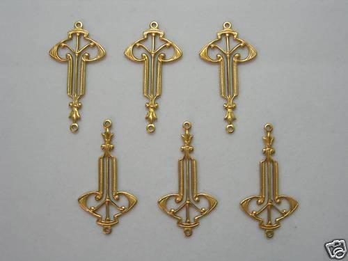 Raw Brass Drops Earring Findings Stampings Art Deco 6