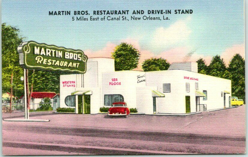New Orleans, Louisiana Postcard MARTIN BROS. RESTAURANT & DRIVE-IN STAND Linen