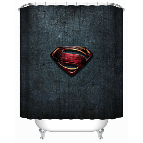 4PCS HD SuperMan Shower Curtain Bathroom Rug Set Bath Mat Non-Slip Lid Cover