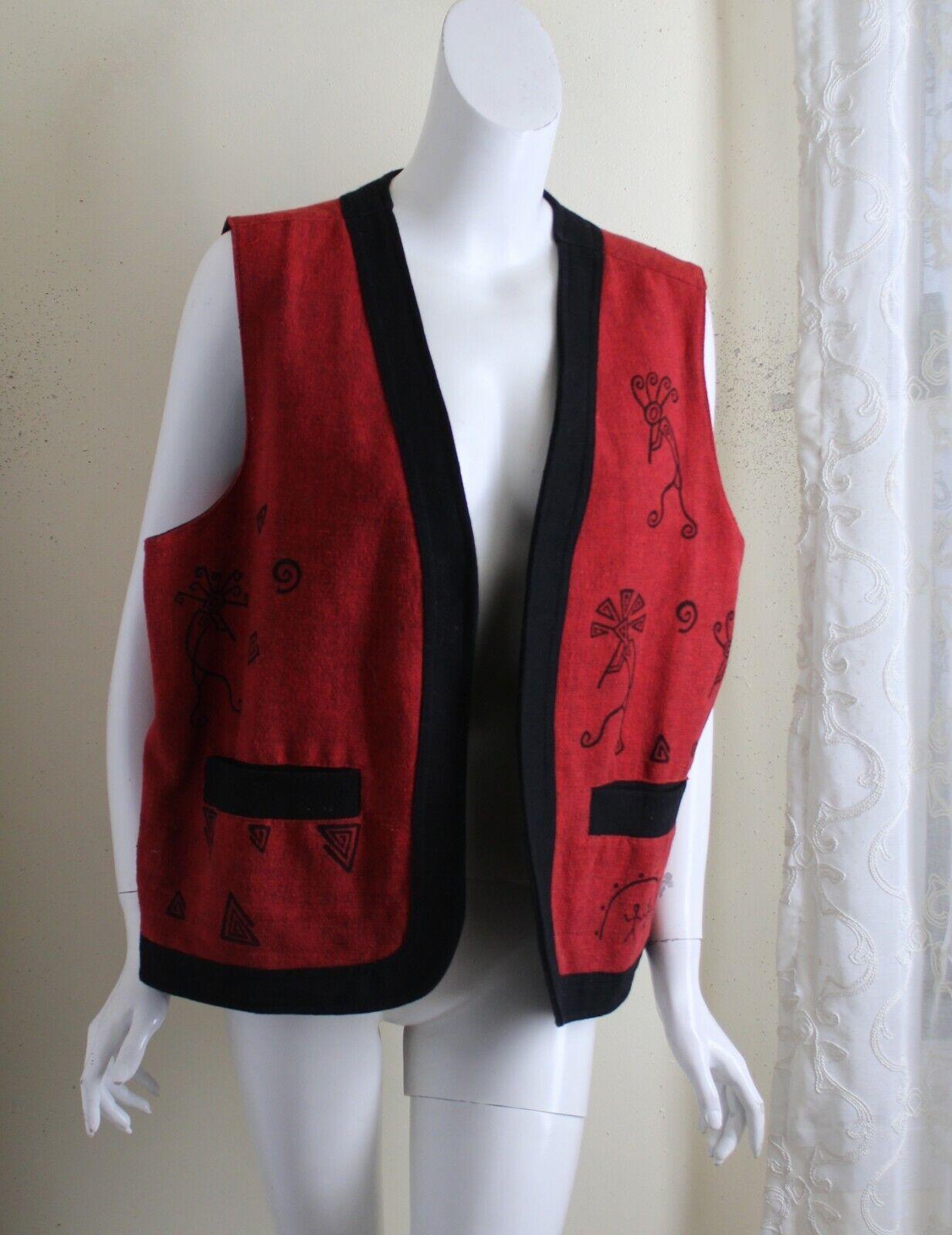 NEW Venus Imports XL RED Black Southwest Kachina Handloomed Cotton Vest Jacket