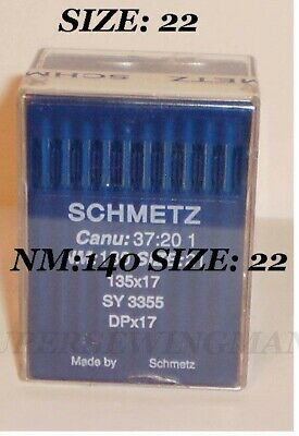 37:20 Nm Schmetz Sewing Needles 100 pk Canu 90//14 System 135x17 SY 3355 DPx17