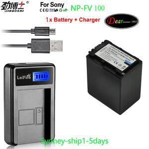 1x4-5A-Battery-LCD1-for-Sony-NP-FV30-NP-FV50-NP-FV70-NP-FV100-FDR-AX100-AUship