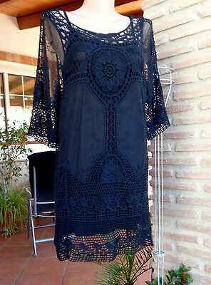 Lagenlook Tunika Minikleid Ibiza Hippie Boho Party Häkel Spitze Black 38-42