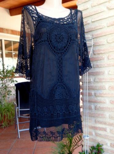 Lagenlook Tunika Minikleid  Ibiza Hippie Boho Party Häkel Spitze Black 38-42