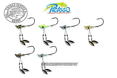 Picasso Jig Head Double Barrel Underspin Swimbait 3//16oz Mustad 3//0 Pick