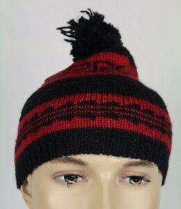 Ralph Lauren Womens Black Red Wool Beanie Hat NWT