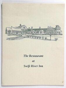 1980's Vintage Menu THE RESTAURANT AT SWIFT RIVER INN Cummington MA Rehab Center