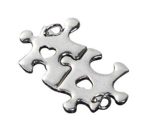 2 Puzzle Piece Pendants 1 inch with Heart Cut Out Silver Bulk Lot Set Autism