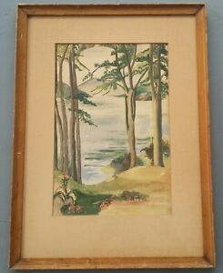 Vintage-1950-039-s-Original-amp-Signed-F-L-Greenson-Scenic-Waterfront-Art-Painting