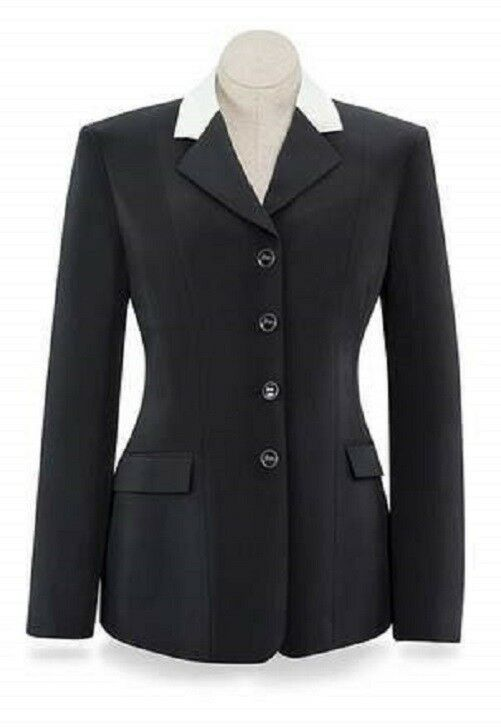 RJ Classics cruzado abrigo nuevo con etiquetas R Negro W Marfil Cuello caza Evento de Doma