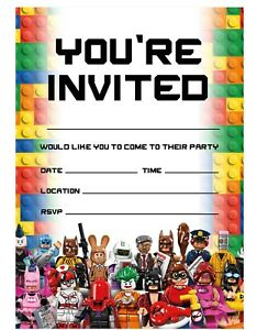 Lego Theme Birthday Party Invitations Lego Invites Children Boys