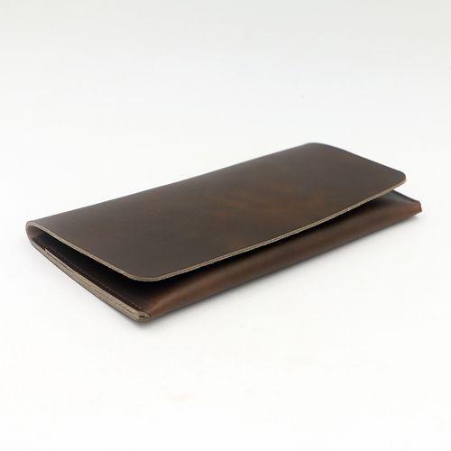 Handmade Genuine Leather Long Silm Wallet Bifold Credit Card Clutch Purse