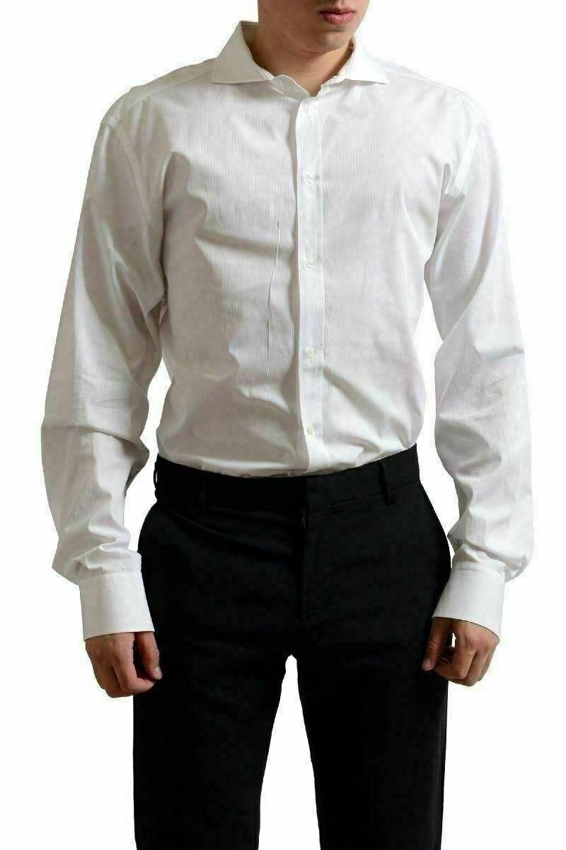 Gianfranco Ferre White Men's Button Down Long Sleeve Dress Shirt US 18 IT 45