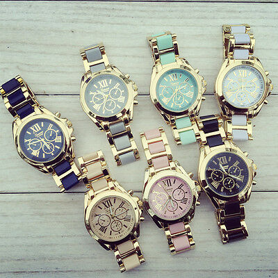 Women New Classic Geneva Watches Stainless Steel Two Tone Roman Numbers Watches