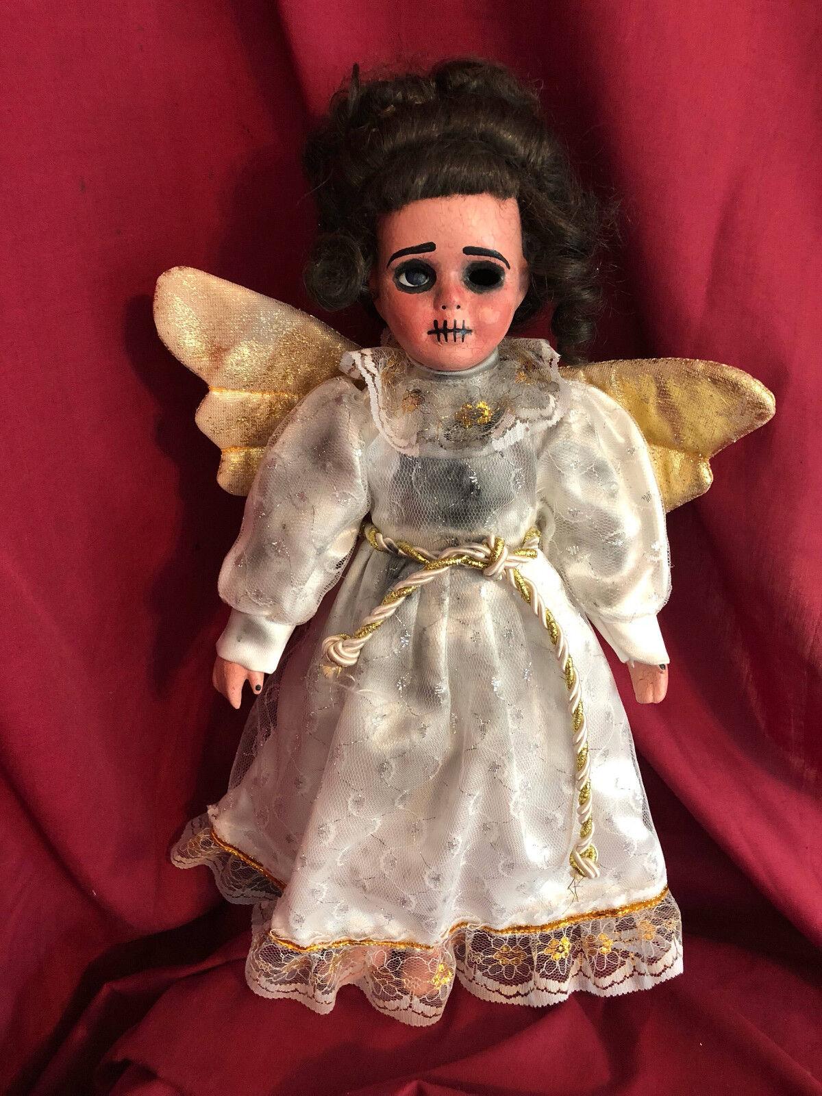 OOAK Flesh Crackle Angel Creepy Horror Doll Art by Christie Creepydolls