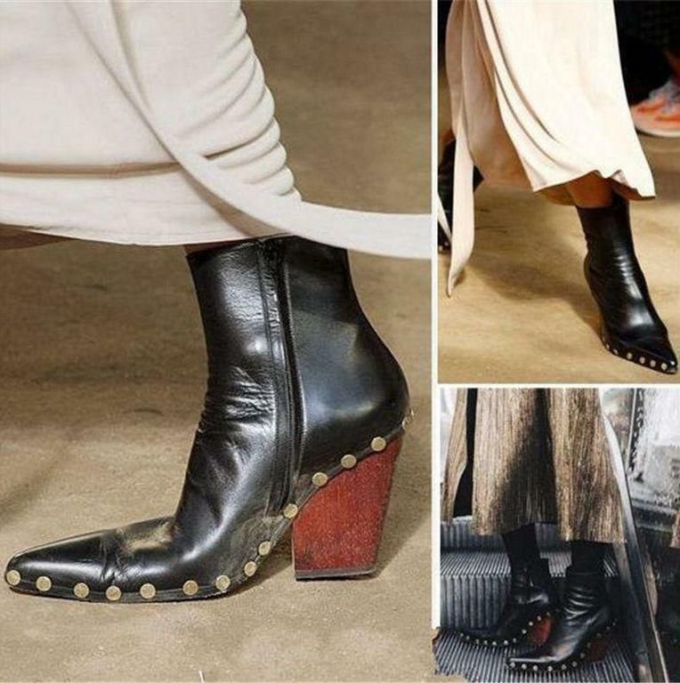 Womens Military Spike Stud Cow Leather Pointed Toe Ankle Boots High Heel shoes T