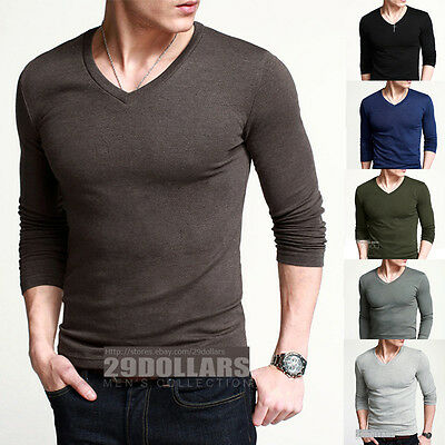 Simple Fitted Mens Basic Tee GYM Sports T-Shirt Long Sleeve V Neck Plain 5 Color