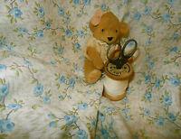 Antique Vintage Roses Cotton Fabric ~ blue green pale brown ~ dolls bears blouse