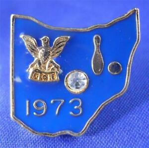 Fraternal-Order-Of-Eagles-Bowling-League-Lapel-Pin-Rhinestone-Vintage-1973-FOE