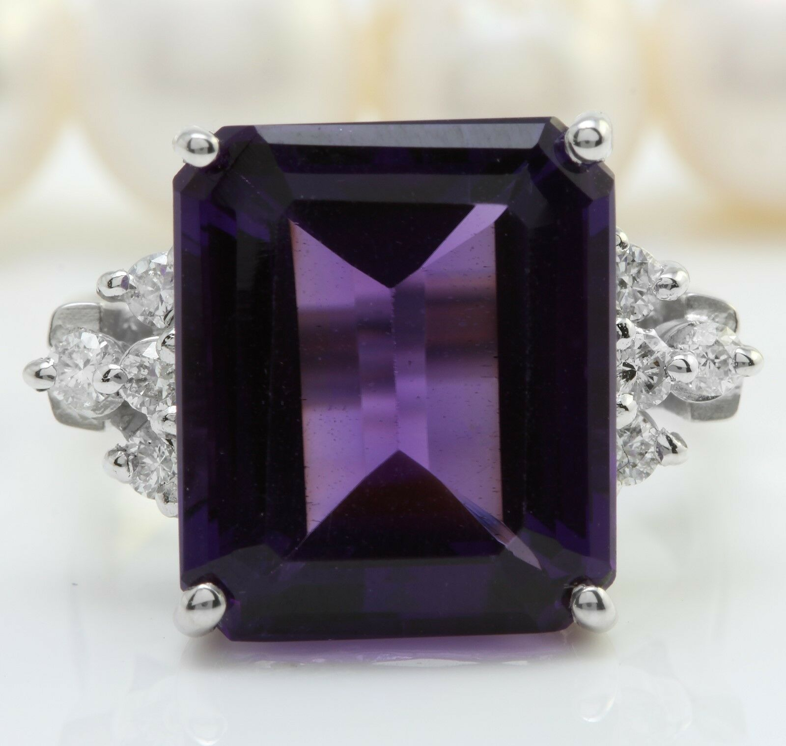 9.20 Carat Natural Purple Amethyst & Diamonds 14K White gold Women Ring