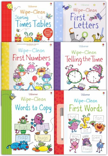 Usborne Wipe Clean Learn To Write Children's Collection 6 Books Set First Letter