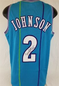77aefadc8 Image is loading Larry-Johnson-Signed-Charlotte-Hornets-Teal-Pinstripped- Jersey-
