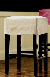 Terrific Details About Pottery Barn Napa Slipcover Backless Barstool New Linen Flax Theyellowbook Wood Chair Design Ideas Theyellowbookinfo