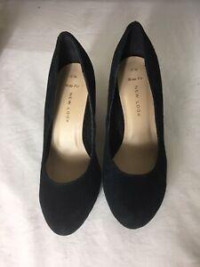 Women Black Suede Wide Fit Heels Size