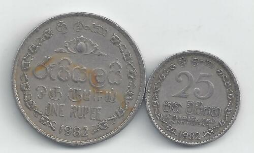 BOTH DATING 1982 25 CENTS /& 1 RUPEE 2 DIFFERENT COINS from SRI LANKA