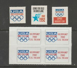 USA-Mix-revenue-cinderella-seal-stamp-ml186-Barcelona-Olympics-mnh-gum