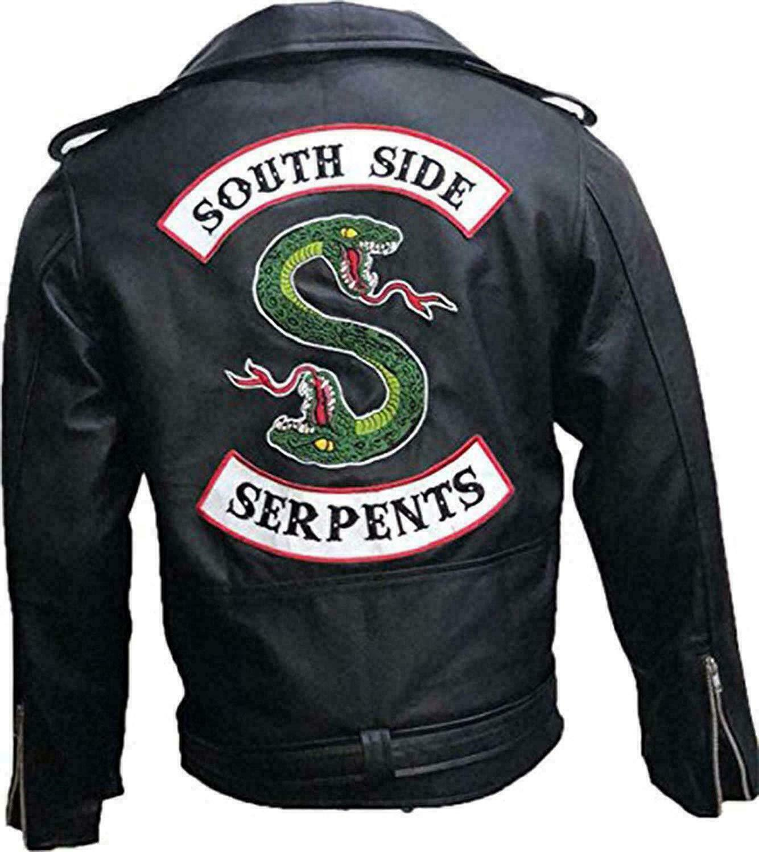Mens Riverdale Southside Serpent Jughead Jones Gang Biker Black Leather Jacket