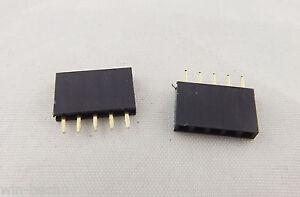 10pcs-Pitch-1x-5-Pin-2-54mm-Female-Single-Row-Straight-PCB-Header-Strip-Socket