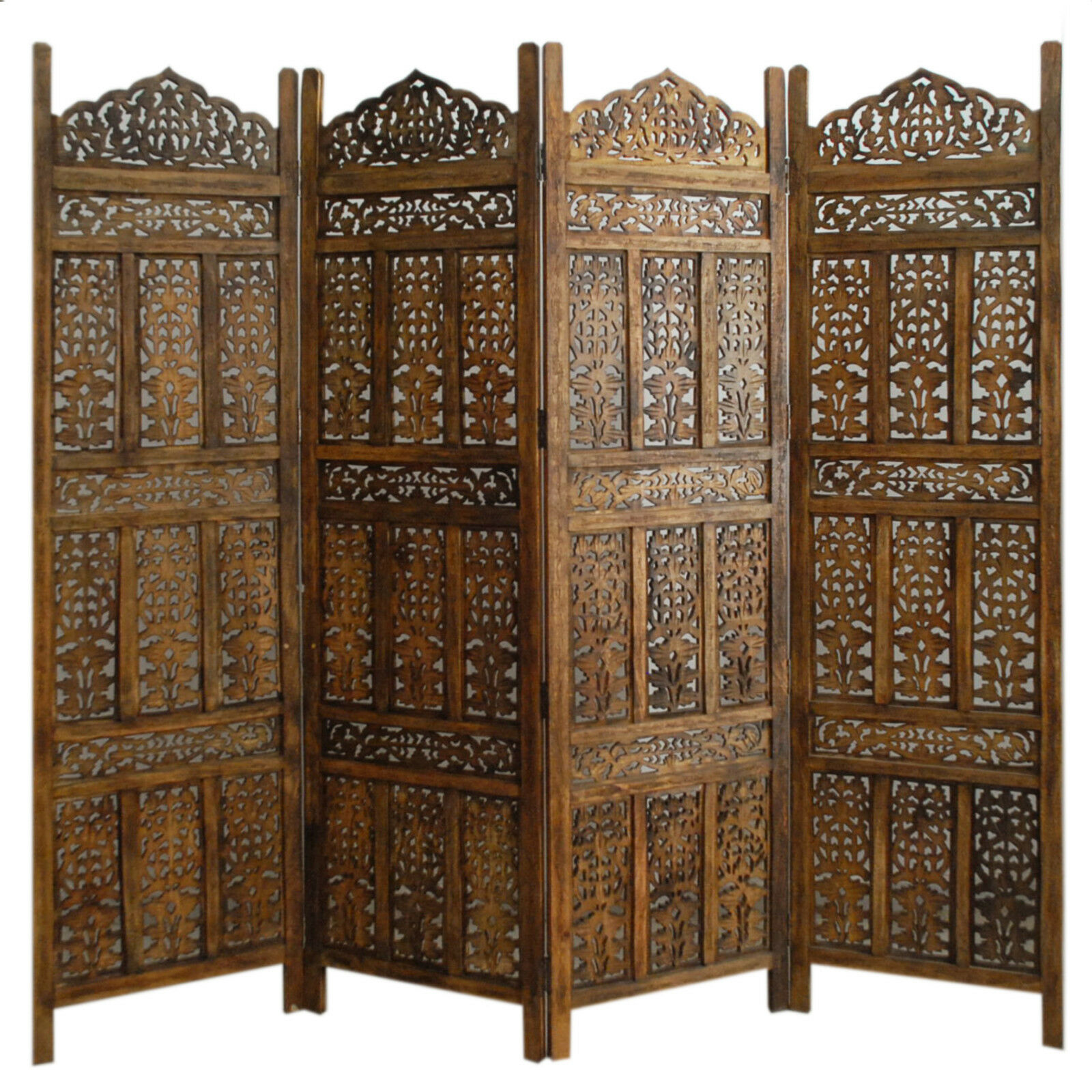 4 PANEL SCREEN ROOM DIVIDER PARAVENT INDIAN HAND CARVED WOODEN   K