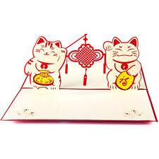 3D Pop Up Greeting Card Maneki Neko Lucky Cat Chinese New Year Christmas Gifts