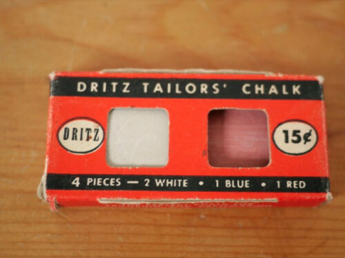 Vintage 1949 Dritz Tailors Chalk #629 3 Pieces in Original Box White Pink Blue