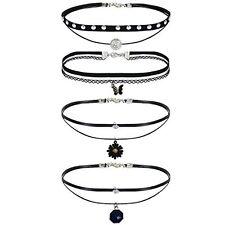 4Pcs Women's Black Velvet Choker Heart Collar Fashion Necklace with Charms