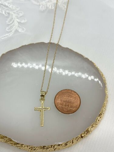 """Details about  /14k Yellow Gold Cross Pendant W// Chain 18"""""""
