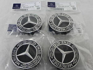 Genuine mercedes benz black emblem laurel wreath alloy for Mercedes benz wheel cap emblem