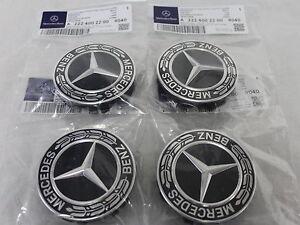 Genuine mercedes benz black emblem laurel wreath alloy for Mercedes benz hub caps