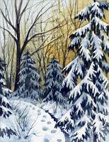 ACEO Original Miniature Watercolor Painting Winter by Elena Mezhibovsky