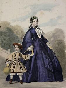 DéLicieux Mère Et Enfant Journal Des Soirées De Famille 1860 Romantique Mode Fashion Design Moderne