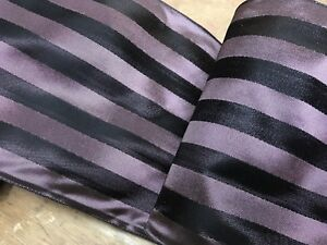 FRENCH-4-7-8-034-TAFFETA-Striped-RIBBON-1yd-PLUM-EGGPLANT