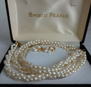 Image Is Loading Vintage Authentic Shinju Pearls Bracelet Earrings Necklace Set