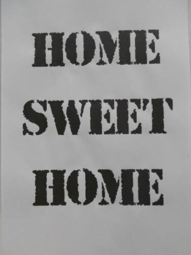 Schablone Home sweet home auf A4