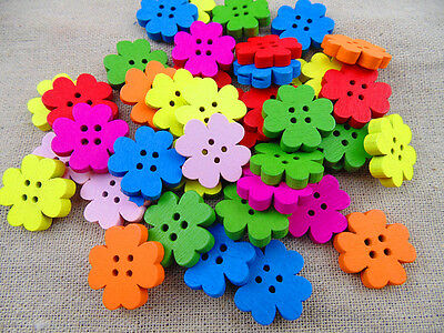 20/50/100pcs Mixed Colored Flower Wood Wooden Button Sewing Scrapbook DIY 20mm