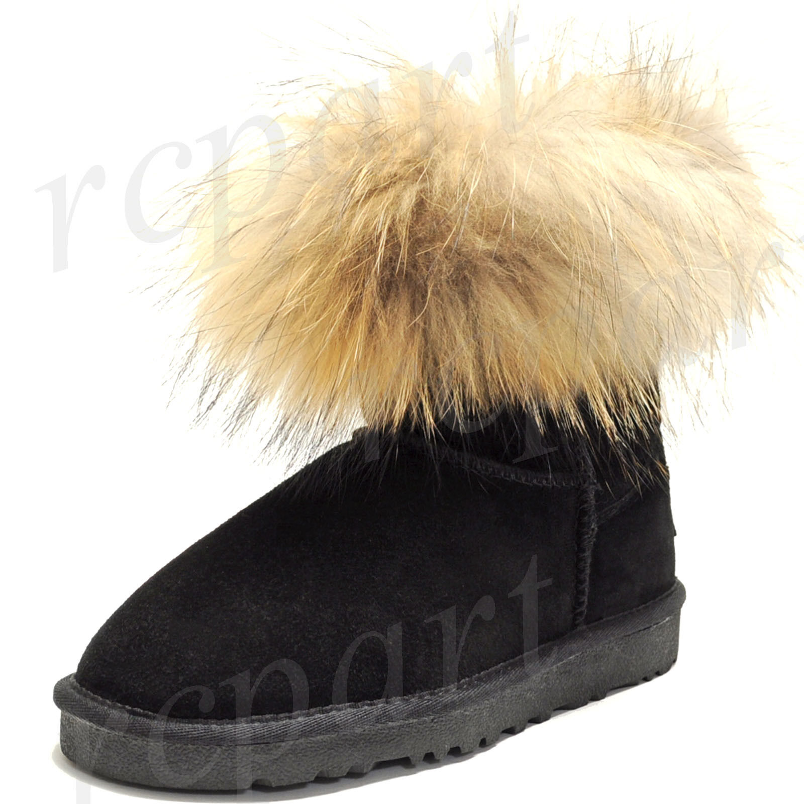 New women's shoes fashion mid shaft boot real suede & faux fur winter warm black