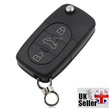 """Audi A2 A3 A4 A6 A8 TT 3 Button Key Fob Case Shell With Uncut Blade """"WITH LOGO"""""""