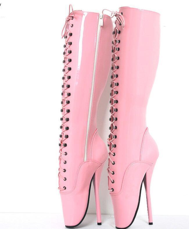 Wouomo Leather 18cm High Heel  Knee-High Zips Lace-Up Unisex BALLET stivali mgic